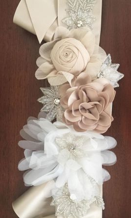 Sash Belt David S Bridal S1073 Mixed Media Floral Sash