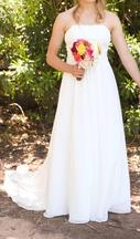 David's Bridal Chiffon Soft Gown with Beaded Lace on Empire V9743 0