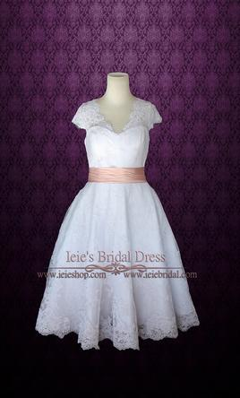 Other Retro 50s Tea Length Wedding Dress with Sleeves 6