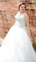 Oleg Cassini CT569 / Organza Embroidered Bodice Ball Gown 0