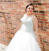 Oleg Cassini CT569 / Organza Embroidered Bodice Ball Gown