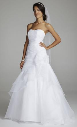 David's Bridal Organza A Line Gown with Floral Side 12