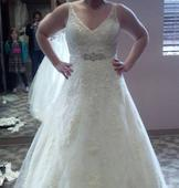Mori Lee 1915 Venice Lace Appliques on Tulle over Chantilly