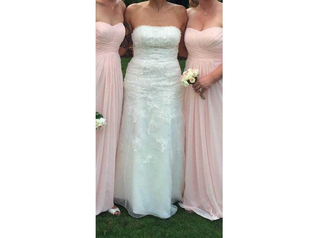 David 39 s bridal organza trumpet gown with embellished lace for Organza trumpet wedding dress
