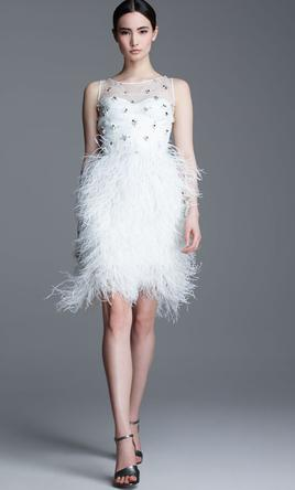 Pin It Add To Lela Rose Embroidered Feather Skirt Dress 6