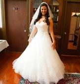 Oleg Cassini One Shoulder Tulle Ball Gown with Lace Appliques