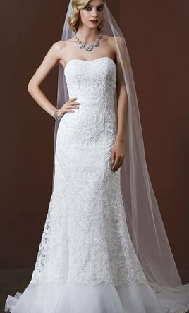 David's Bridal Lace over Charmeuse gown with soutache detail 10
