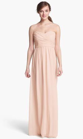 Monique Lhuillier Strapless Ruched Chiffon Sweetheart Gown/450017 ...