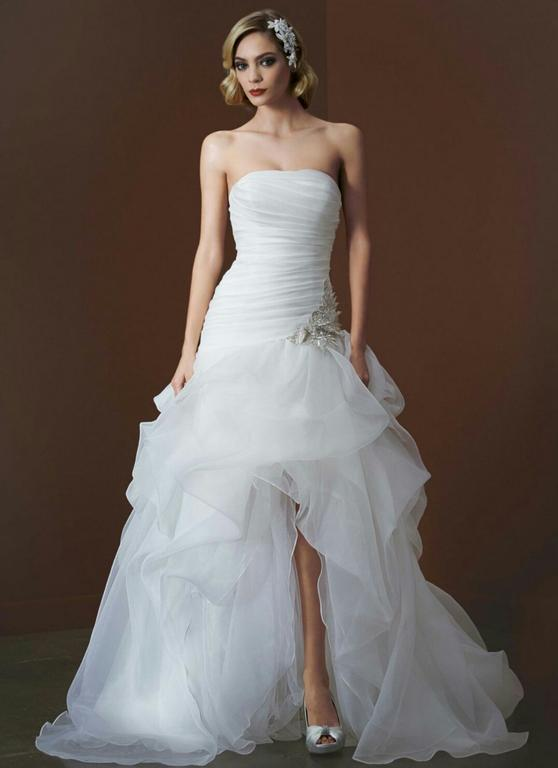 David 39 s bridal organza and tulle high low gown ai26010039 for Wedding dresses high low