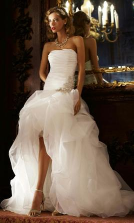 David 39 S Bridal Organza And Tulle High Low Gown Ai26010039