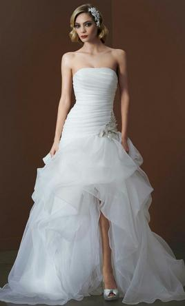 David 39 s bridal organza and tulle high low gown ai26010039 for Tulle high low wedding dress