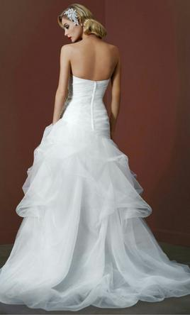 David 39 s bridal organza and tulle high low gown ai26010039 for High low wedding dress davids bridal