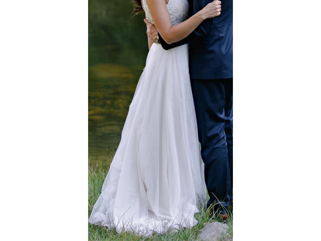 Light Gray Bridesmaid Dresses Knee Length Soft Tulle: Other Soft Tulle Skirt With Train, $380 Size: 4