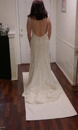 Inspired Gowns Alencon lace Gown with Stunning Keyhole Back  10
