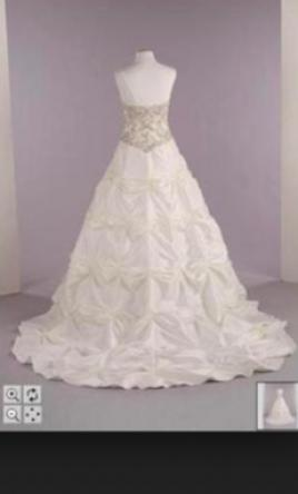 David's Bridal T9252 Pickup Beaded Lace Ballgown, incl shapewear! 16