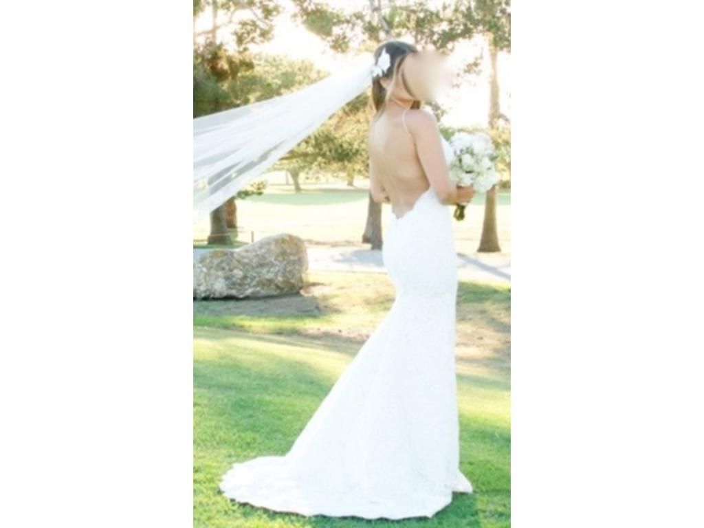 Katie may poipu low back gown 999 size 0 used wedding for Low back wedding dresses for sale
