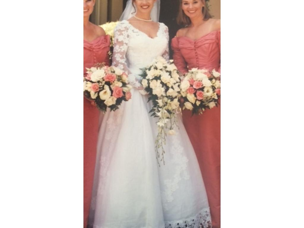 Priscilla of Boston White Linen with lace sleeves and bodice, $1,100 ...