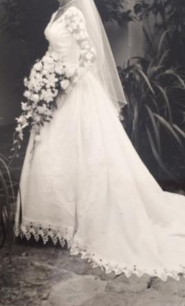 Priscilla of Boston White Linen with lace sleeves and bodice ...