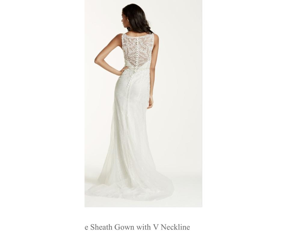 David 39 s bridal lace sheath wedding gown with illusion low for Buy back wedding dresses