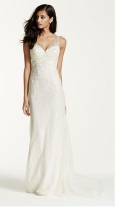David's Bridal Lace Sheath Wedding Gown with illusion low back  10