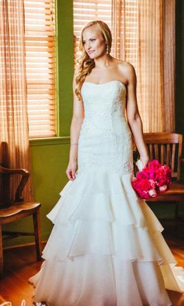 Melissa Sweet Lace & Satin Organza Trumpet Wedding Dress w/ Slip 6