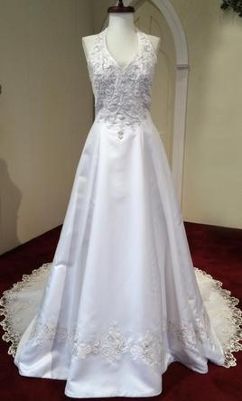 Mori Lee 3708 White, Halter, Silver Embroidery 10
