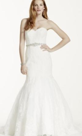 David's Bridal Sweetheart Trumpet Wedding Dress with Beaded Sash 8