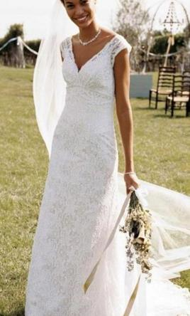 David's Bridal All Over Beaded Lace Trumpet - T9612 8