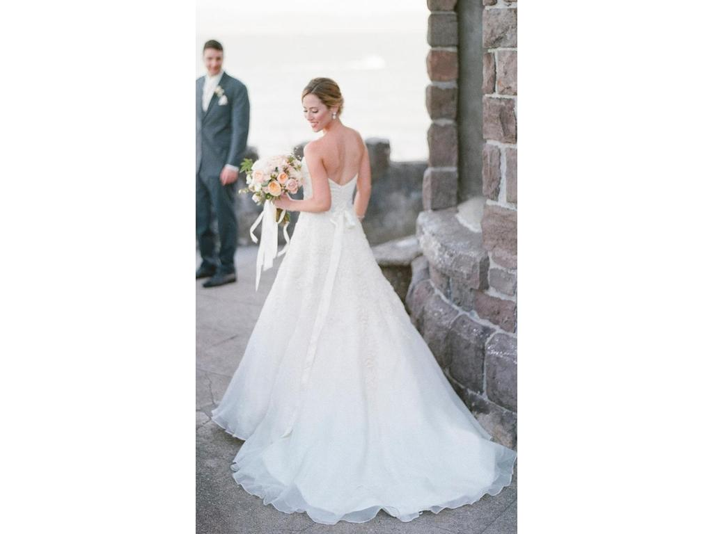 Watters lasara skirt custom top 1 500 size 0 used for Best place to buy used wedding dresses