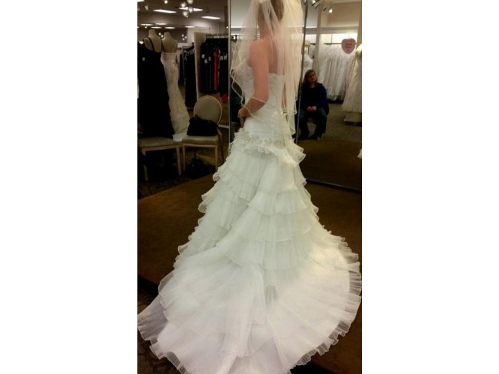 David 39 s bridal pleated wedding dress with tiers and lace for Lace up back wedding dresses