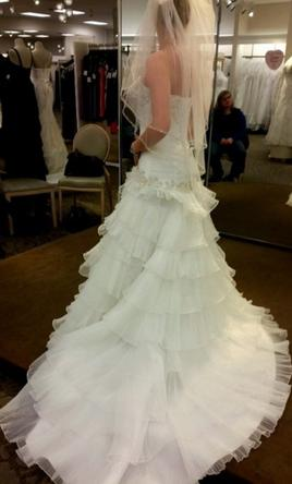 ... Davidu0027s Bridal Pleated Wedding Dress With Tiers And Lace Up Back 6