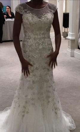 Sophia Moncelli Illusion sheath gown in beaded embroidery  10