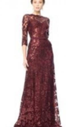 a2498b269b1 Pin it · Tadashi Shoji Paillette Embroidered Lace ¾ Sleeve Gown 6