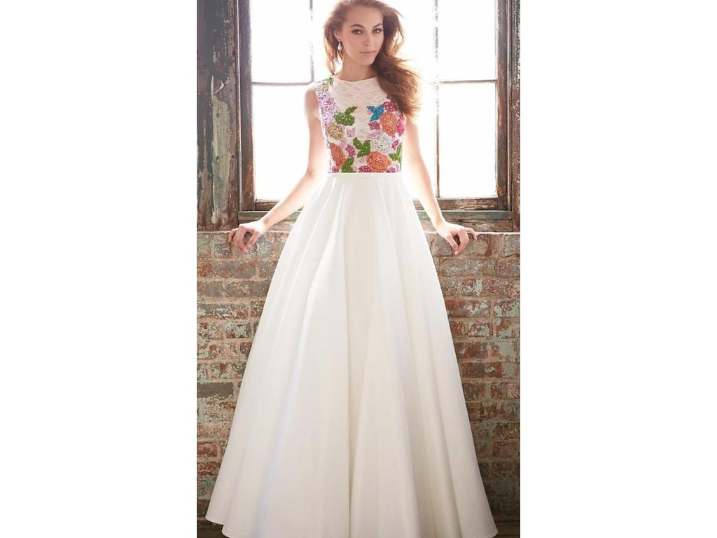 Madison James Ivory Lace Floral Satin Gown 15-118, $150 Size: 10 ...