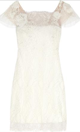 Marchesa Short sleeved metallic lace cocktail dress 12