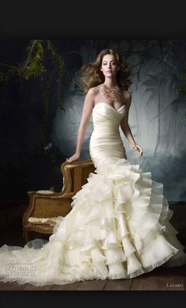 Lazaro Silk satin organza flamenco ruffle pleated bridal  2