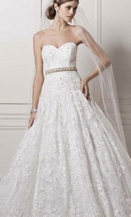 Oleg Cassini CWG633 Softwhite Allover Lace Beaded Wedding Dress 14