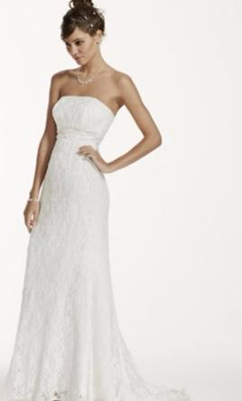 47d414cacf576 Pin it · David's Bridal Allover Beaded Lace Sheath Gown with Empire Waist 2