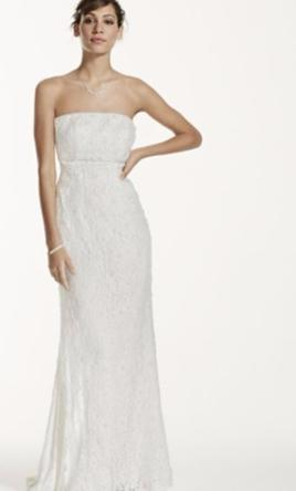 0c140ef9 Pin it · David's Bridal Allover Beaded Lace Sheath Gown with Empire Waist 2