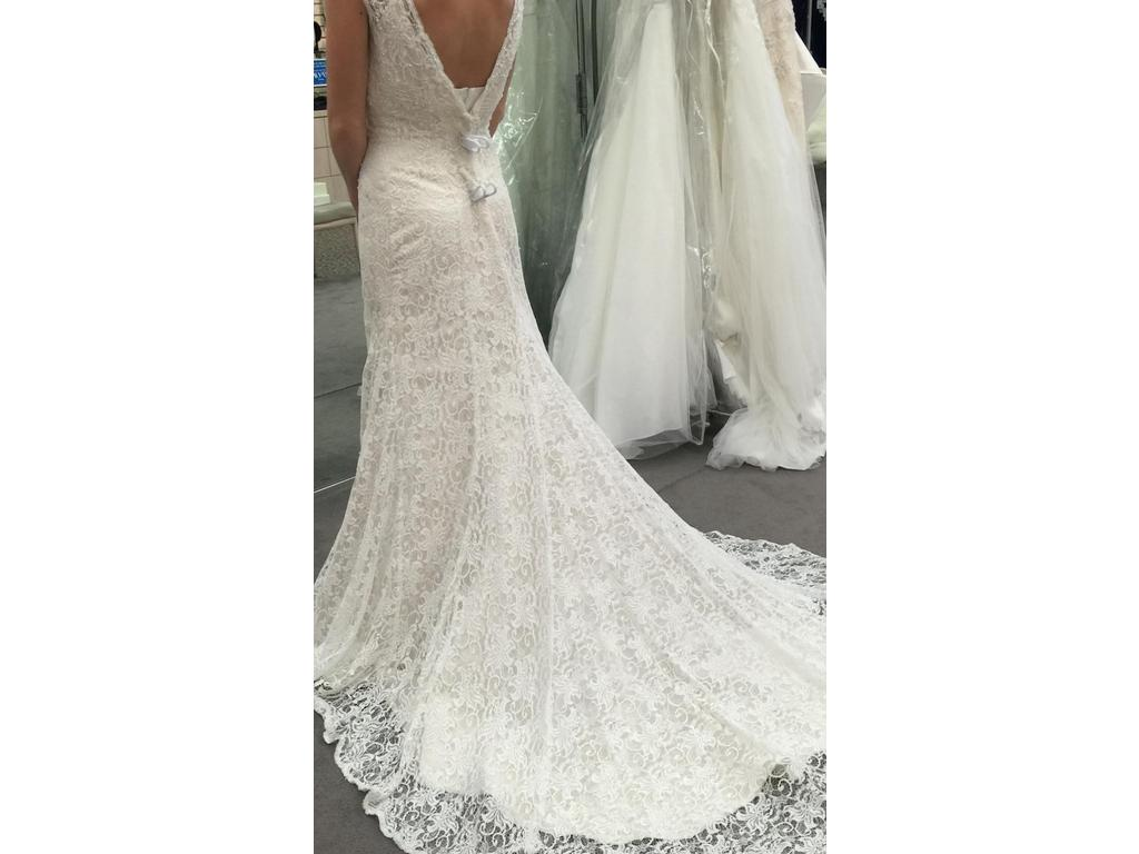 David 39 s bridal all over beaded lace trumpet gown 349 for All lace wedding dress