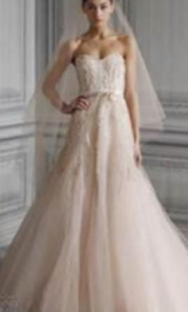 Monique lhuillier candy wedding dress 4 000 size 00 for Monique lhuillier pink wedding dress