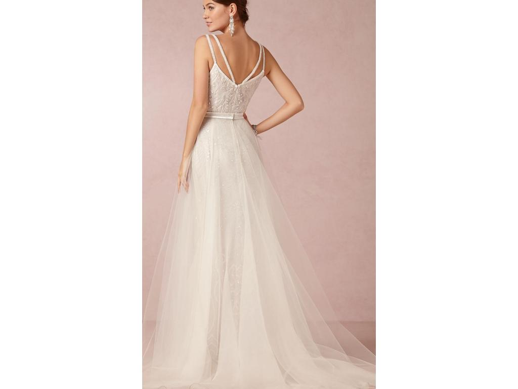 Bhldn elsa gown by theia tulle skirt 800 size 4 for Pre owned wedding dresses
