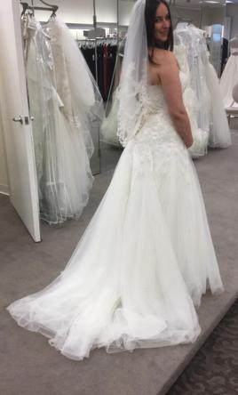 Wedding Tulle | David S Bridal Strapless Tulle Wedding Dress With Beaded Lace 499