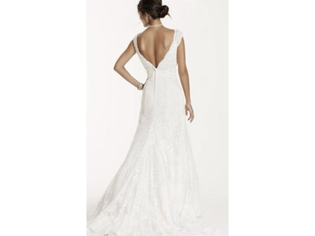 David 39 s bridal all over beaded lace trumpet wedding dress for Beaded trumpet wedding dress