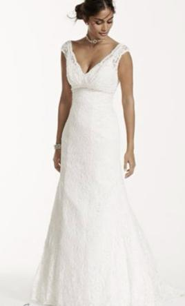David's Bridal All Over Beaded Lace Trumpet Wedding Dress  14