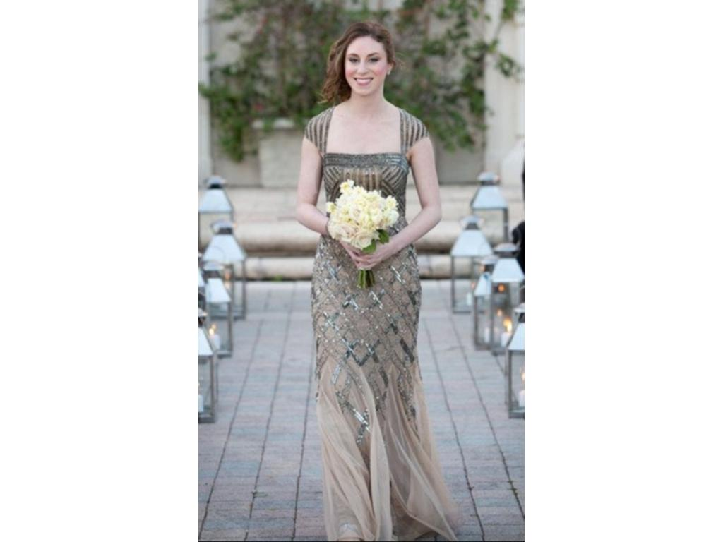 ... Adrianna Papell Cap sleeve beaded gown - Many Sizes Available 10