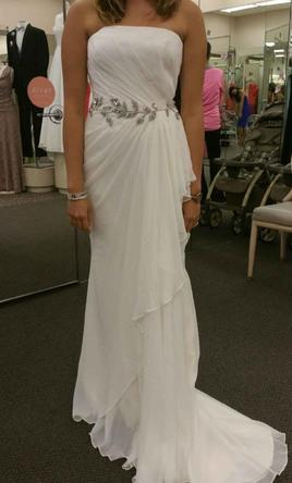 David's Bridal Off the Shoulder with Beaded Sash 6