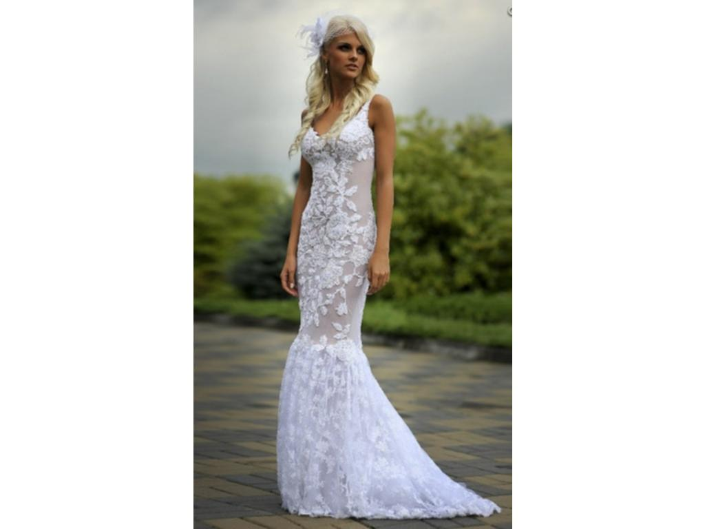 Other lace wedding dress with train 1 825 size 10 for Wedding dresses colors other than white