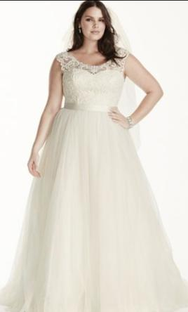 Pin It Davids Bridal Tulle Plus Size Wedding Dress With Lace Cap Sleeve 16W