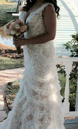 Pin It Galina Beaded Lace Wedding Dress With Plunging Neckline 12